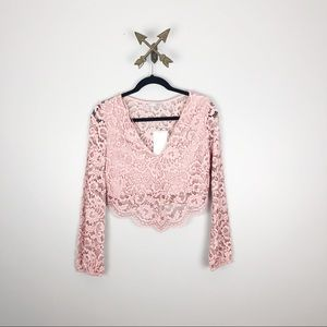 NWT Zara Pink Lace Crop Top Size M